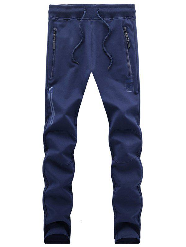 Slimming Zip Pocket Design Solid Color Lace Up Sport Pants For Men - BLUE XL
