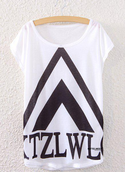 Trendy Scoop Neck Loose-Fitting Geometric Print Women's T-Shirt - WHITE ONE SIZE(FIT SIZE XS TO M)