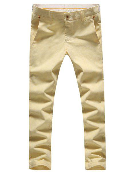 Solid Color Plus Size Cotton+Linen Zipper Fly Narrow Feet Men's Nine Minutes of Pants - YELLOW 36