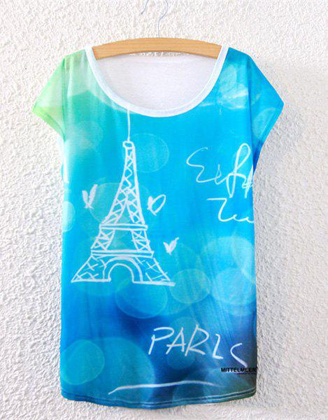 Trendy Scoop Collar Loose-Fitting Tower Pattern Women's T-Shirt