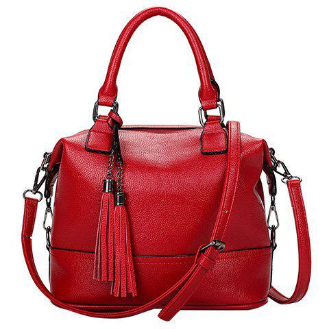 Fashionable Tassels and Solid Color Design Women's Tote Bag - RED