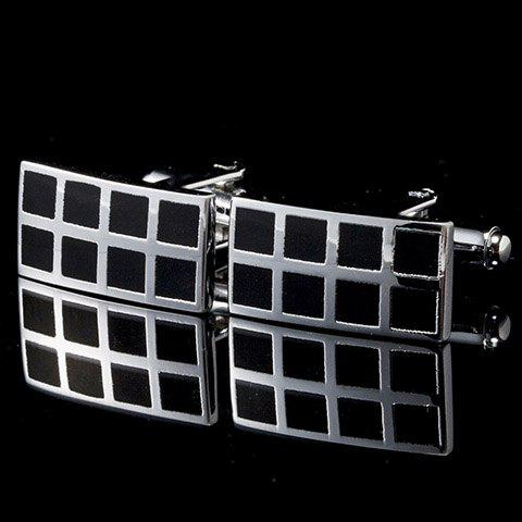 Pair of Stylish Checkered Alloy Inlay Men's Rectangle Cufflinks