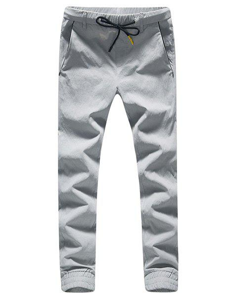Lace-Up Beam Feet Side Stripe Design Plus Size Men's Nine Minutes of Pants - LIGHT GRAY 29