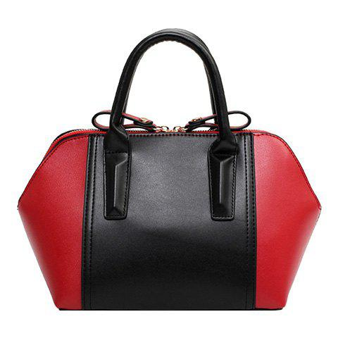 Ladylike PU Leather and Colour Matching Design Women's Tote Bag