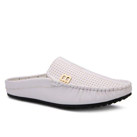 Stylish Metal and Solid Colour Design Men's Casual Shoes - WHITE 39