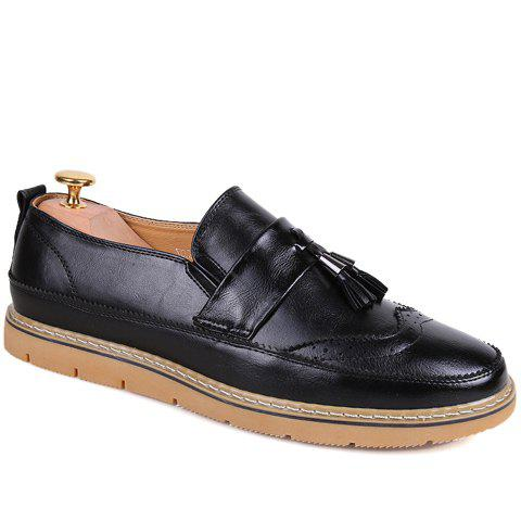 Stylish Engraving and Tassels Design Men's Casual Shoes - BLACK 42