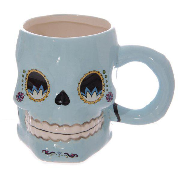 High Quality Novelty Office Cup 3D Floral Skull Shape Ceramic Mug - LIGHT BLUE