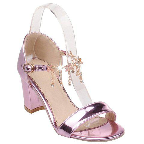 Chunky Heel Rhinestone Patent Leather Sandals - PINK 34