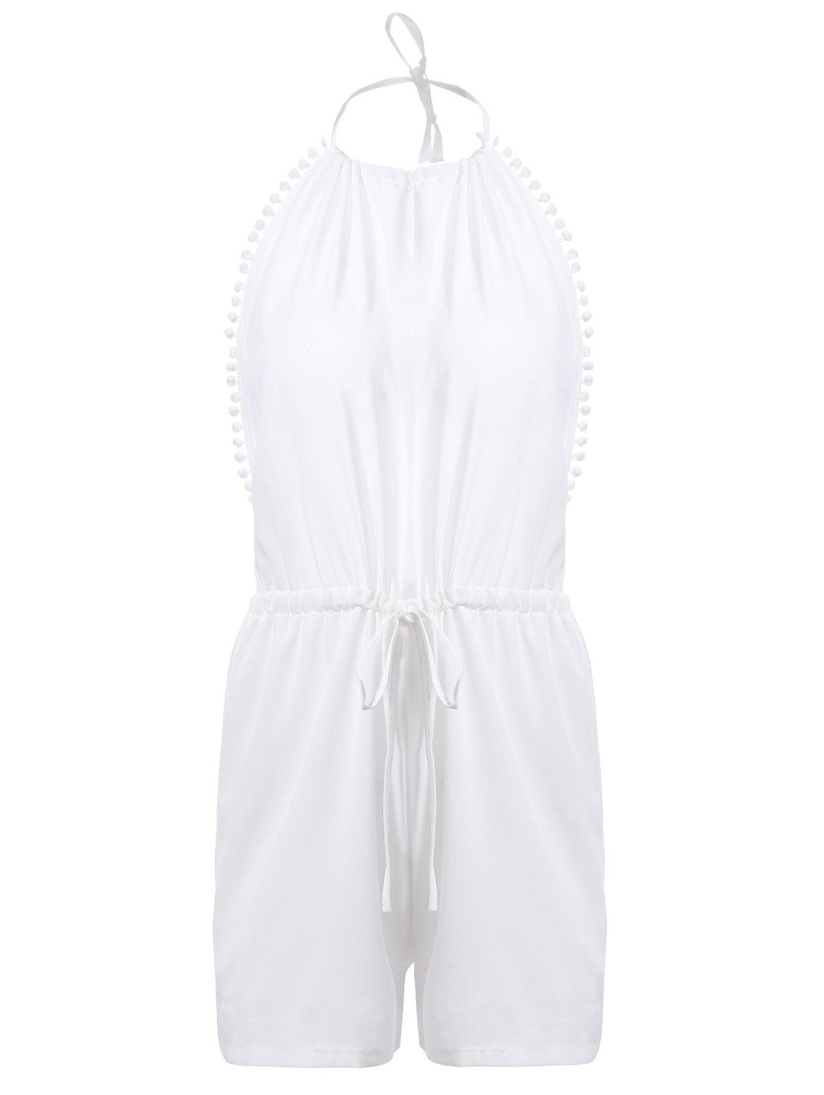 Trendy Halter Open Back Lace-Up Romper For Women - WHITE S