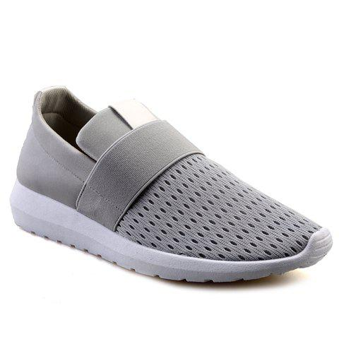 Stylish Colour Block and Elastic Band Design Men's Casual Shoes - GRAY 43