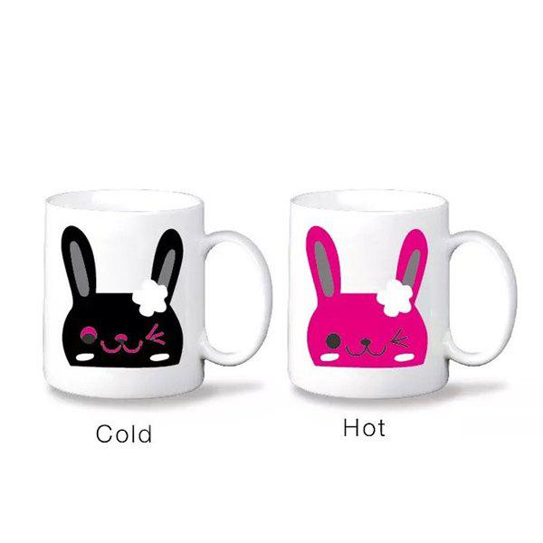 High Quality Novelty Office Tea Coffee Cup Cartoon Rabbit Pattern Color Changing Ceramic Mug - WHITE