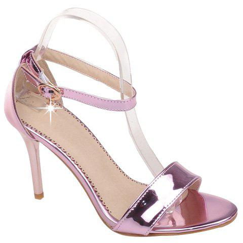 Sweet Patent Leather and Stiletto Heel Design Women's Sandals - PINK 39