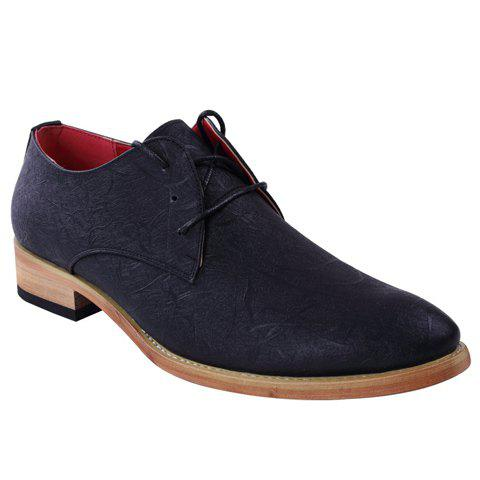 Fashionable Embossing and Lace-Up Design Men's Formal Shoes - BLACK 40