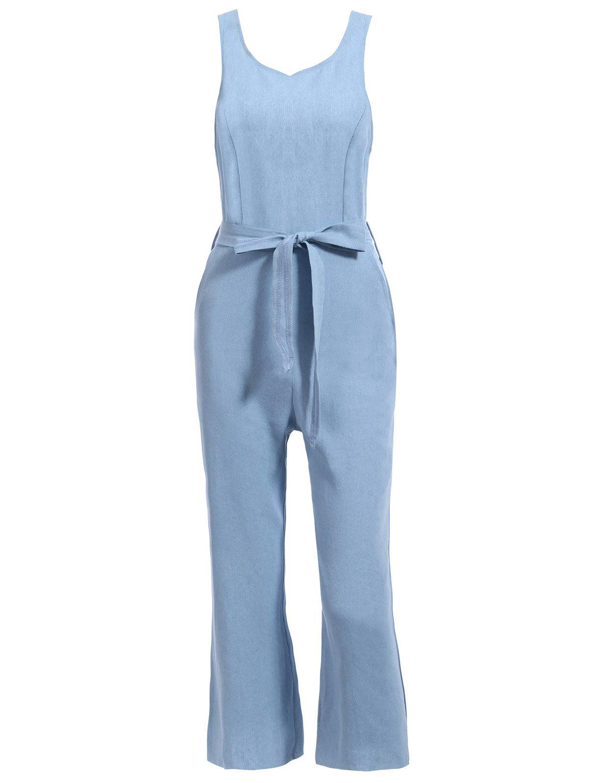 Trendy Round Neck Sleeveless Denim Jumpsuit For Women