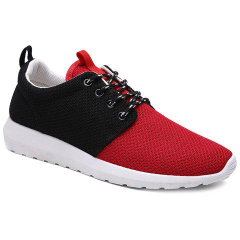 Stylish Color Matching and Lace-Up Design Men's Athletic Shoes - RED/BLACK 40
