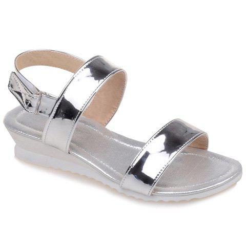 Casual Solid Color and Patent Leather Design Women's Sandals - SILVER 35