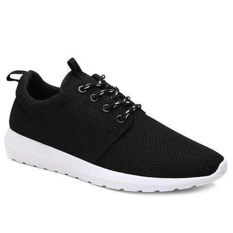 Stylish Solid Colour and Breathable Design Men's Athletic Shoes - BLACK 41