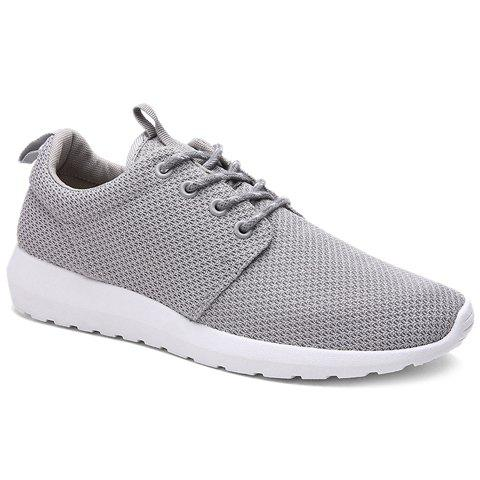 Stylish Solid Colour and Breathable Design Men's Athletic Shoes - GRAY 43