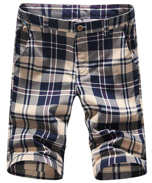 Trendy Straight Leg Plaid Printing Men's Zipper Fly Shorts