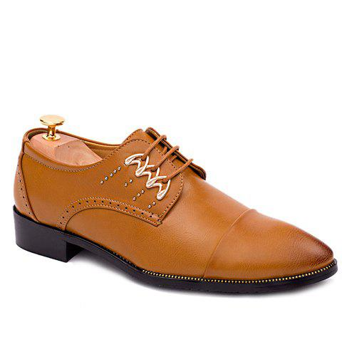 Trendy Lace-Up and Metal Design Men's Formal Shoes - BROWN 43