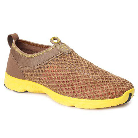 Trendy Mesh and Solid Colour Design Men's Casual Shoes - KHAKI 44