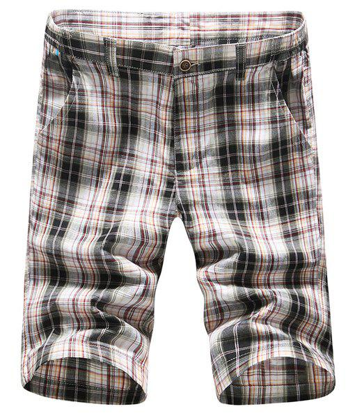 s 'Zipper Fly Shorts Casual Straight Leg Plaid Impression Hommes - Carré 35