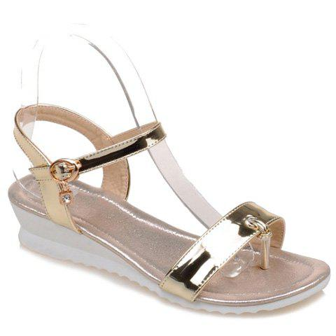 Sweet Patent Leather and Rhinestone Design Women's Sandals - GOLDEN 34
