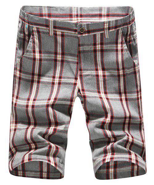 Fashion Straight Leg Plaid Printing Men's Zipper Fly Shorts