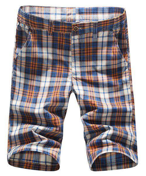 s 'Zipper Fly Short élégant Straight Leg Plaid Impression Hommes - Carré 31
