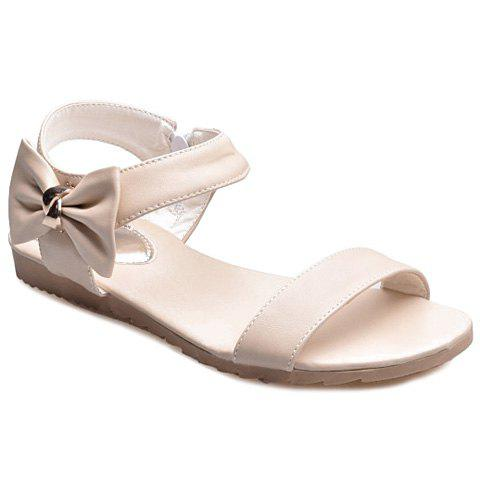 Two Strap Bowknot Flat Sandals - OFF WHITE 38