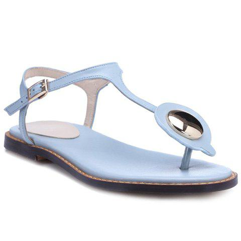 Concise Metal and T-Strap Design Women's Sandals - LIGHT BLUE 38
