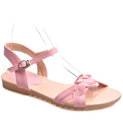 Preppy Style Solid Color and Weaving Design Women's Sandals - PINK 39