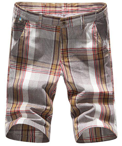 Modern Style Straight Leg Plaid Printing Men's Zipper Fly Shorts - CHECKED 34