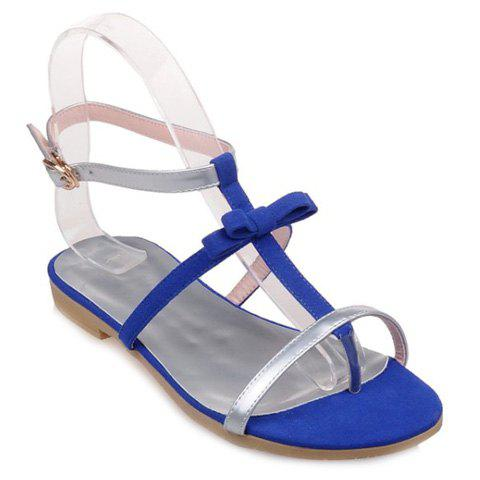 Casual Splicing and Bowknot Design Women's Sandals - SILVER/BLUE 39