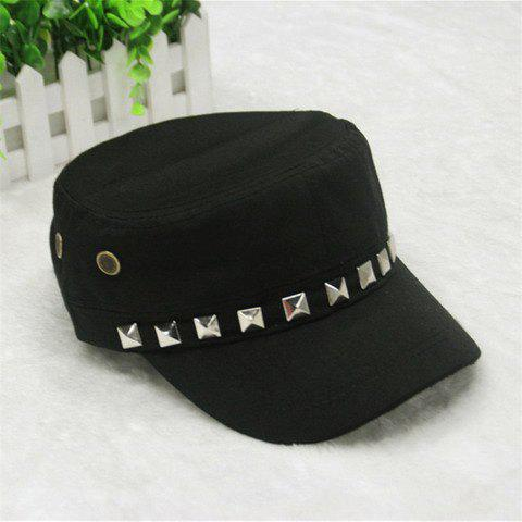 Stylish Buttons and Rivets Embellished Women's Military Hat - BLACK