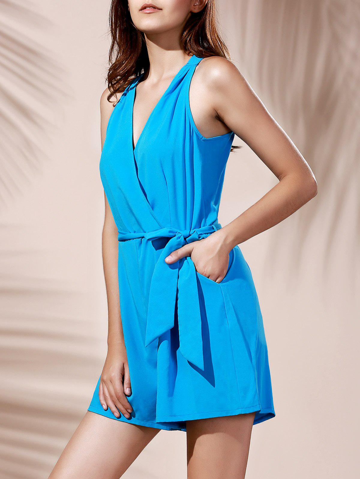 Fashionable Sleeveless V-Neck Pure Color Pocket Design Women's Romper