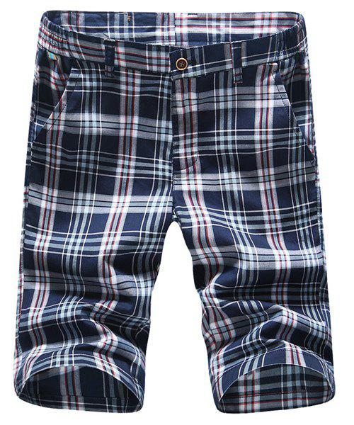 Straight Leg Plaid Printing Men's Zipper Fly Shorts
