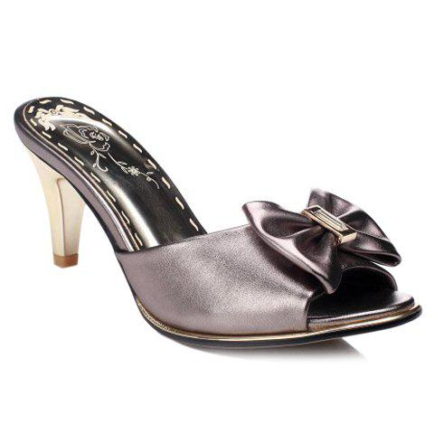 Trendy Solid Color and Bow Design Women's Slippers - GUN METAL 39