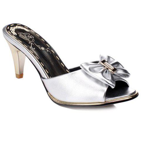 Trendy Solid Color and Bow Design Women's Slippers - SILVER 39