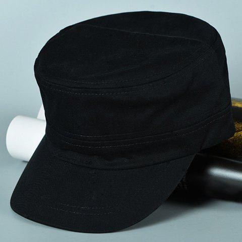 Stylish Solid Color Men's Casual Military Hat - BLACK