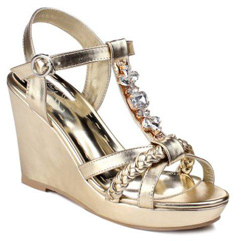Trendy Weaving and Rhinestones Design Women's Sandals