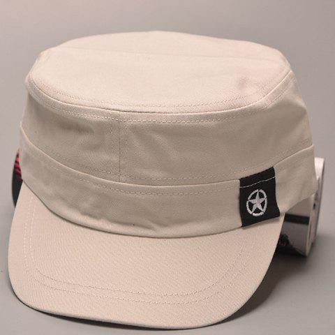 Stylish Five-Pointed Star Embroidery Labelling Men's Military Hat - OFF WHITE