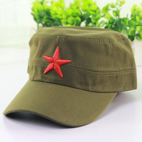 Stylish Big Red Five-Pointed Star Embroidery Men's Military Hat