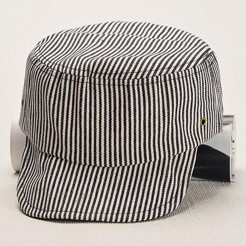 Chic Letter Embroidery Bottom Vertical Stripe Pattern Women's Military Hat - BLACK