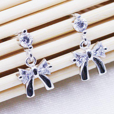 Pair of Bowknot Rhinestone Drop Earrings - SILVER