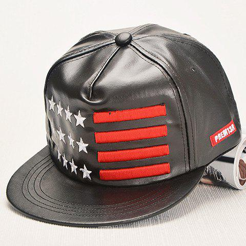 Stylish Star and Stripe Embroidery Men's Black PU Baseball Cap - BLACK