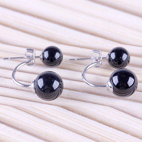 Pair of Bead Faux Crystal Stud Earrings - BLACK