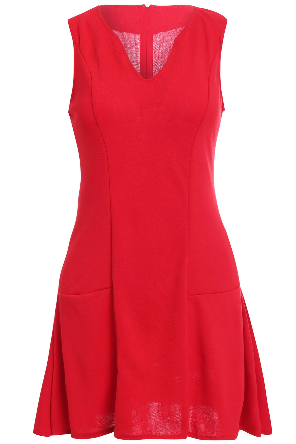 Simple V Neck Sleeveless Pure Color Dress For Women - RED S