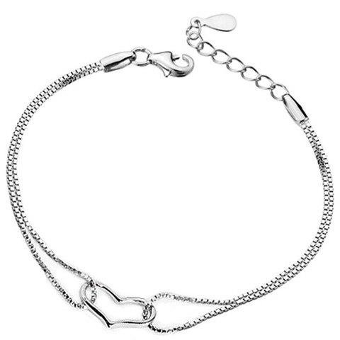 Hollow Out Multilayer Heart Bracelet - SILVER
