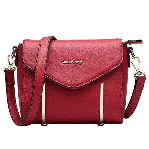 Stylish Metal and Magnetic Closure Design Women's Crossbody Bag - RED